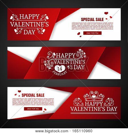 Set template design Happy valentine's day horizontal banner. Flyer with red color tape and special valentine's sale text. Romantic horizontal banner with heart decoration. Love day offer.