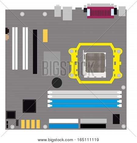 Computer motherboard on a white background. Flat vector isolated illustration