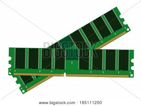 The computer memory on white background. Flat vector isolated illustration