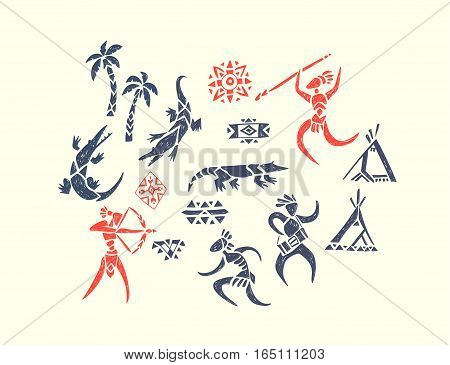 Tribal ornamental texture. Decorative composition with people, crocodile, wigwams and palms. Vector hand drawn illustration of a hunters and wild animals in the jungle