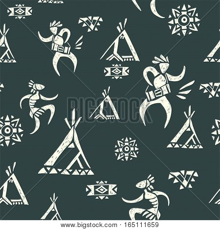 Tribal ornamental texture. Vector seamless pattern.  American indian village. Hand drawn tropical background.