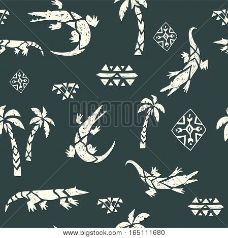 Hand drawn tribal ornamental texture. Vector seamless pattern.  Crocodiles in the jungle.