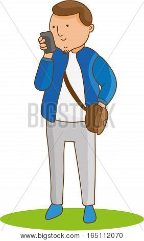 A young guy in pants and a sports jacket looking phone. The image on a white background. Flat cartoon vector illustration.