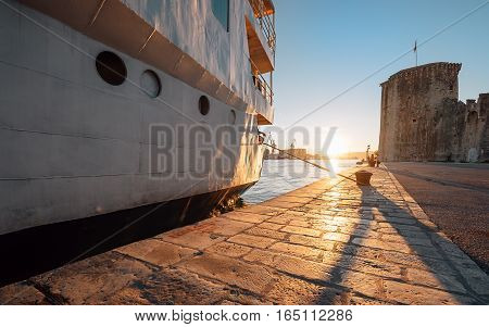 Sunset time on Adriatic sea in old harbor