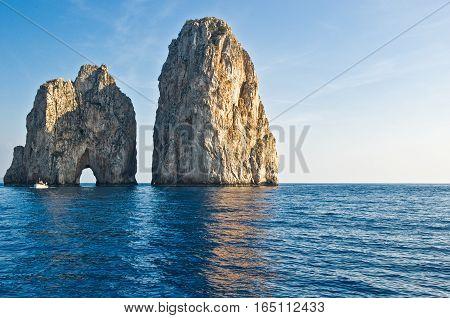 Italy Capri, view of  the famous Faraglioni rocks