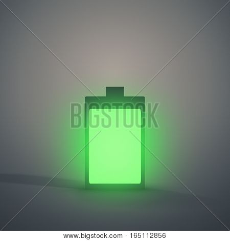 Charging battery symbol glowing against a grey background.