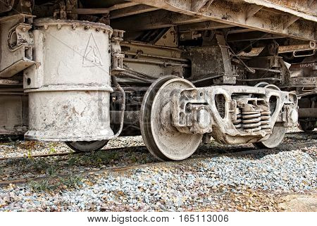 dirty industrial wagons wheel axel. Industrial concept.