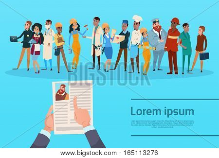 Curriculum Vitae Recruitment Candidate Job Position, Hands Hold CV Profile Choose Group Different Occupation, Employees Mix Race Workers Flat Vector Illustration