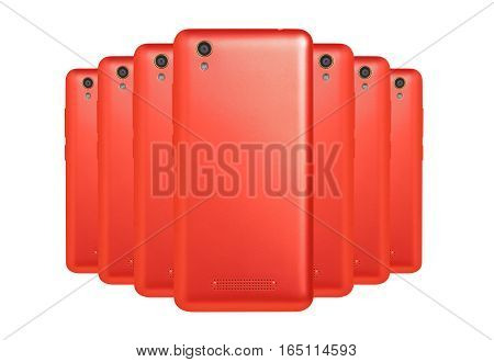 several mobile phones red arranged one behind the other standing