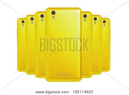 several mobile phones yellow arranged one behind the other standing
