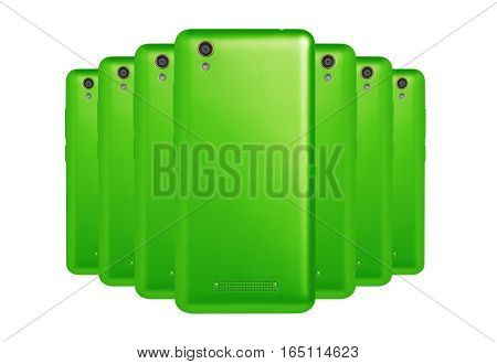 several mobile phones green arranged one behind the other standing