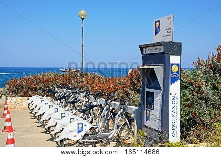 CHANIA, CRETE - SEPTEMBER 16, 2016 - Bicycle hire rank in Talos Square by the sea Chania Crete Greece Europe, September 16, 2016.