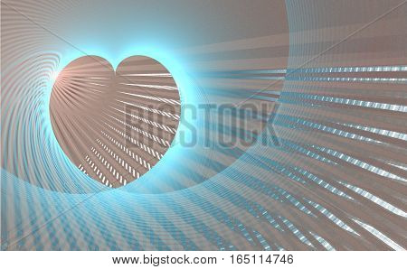 Fractal retro heart made from color blue and pink stripes with place for a text