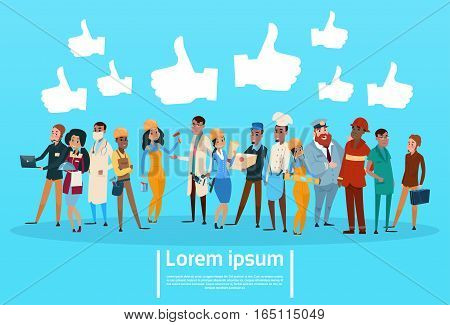 People Group Different Occupation , Employees Mix Race Workers Social Network Communication Like Banner Flat Vector Illustration