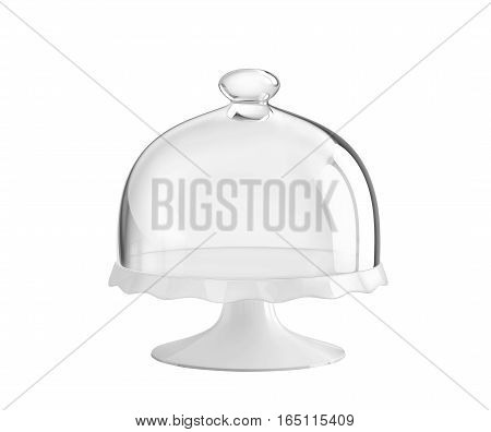 Porcelain cake stand with glass bell jar. 3D rendering with clipping path