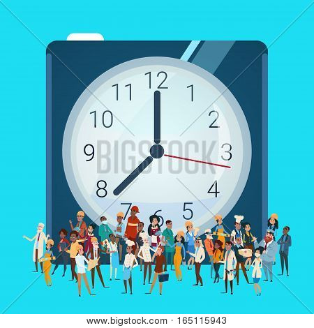 People Group Different Occupation Over Clock, Employees Mix Race Workers Banner Flat Vector Illustration