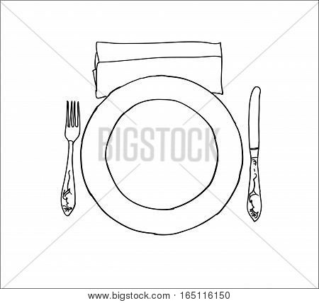 Digital vector knife fork and plate isolated on white background simple icon, hand drawn line art, flat style