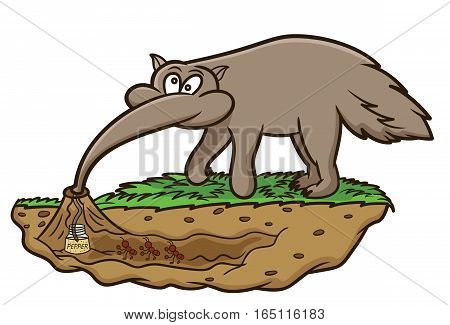 Anteater Looking for Ants Cartoon Animal Character. Vector Illustration.