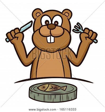 Beaver Ready to Eat Fish on Slice of Tree Disk Cartoon