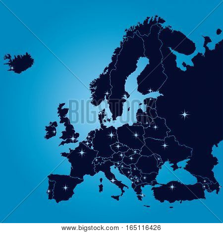 Original map of Europe with capitals. Vector illustration.