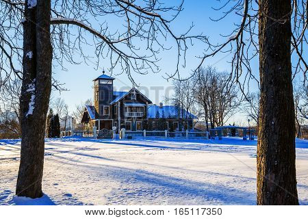 old manor in Loshitsa park Minsk Belarus winter January 8 2017 editorial