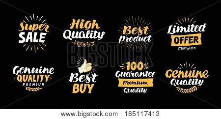 labels with beautiful letterings such as super sale, high quality, best product, limited offer, genuine, buy, 100 guarantee, premium