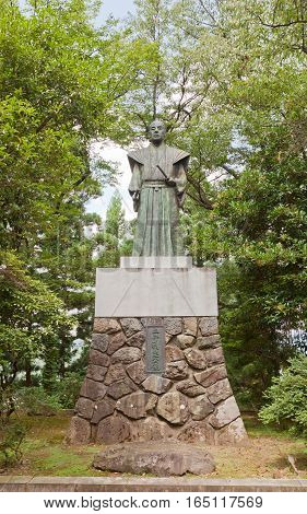 OHNO JAPAN - AUGUST 02 2016: Statue of Doi Toshitada on the grounds of Echizen Ohno castle in Ohno Japan. Toshidata was the last lord of Echizen Ohno Castle (in 19th c).