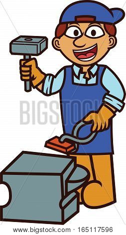 Black Smith With Working with Hammer and Forge Cartoon Illustration