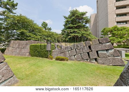 FUKUI JAPAN - AUGUST 02 2016: Stone foundation of former minor donjon (Hikaetenshudai) of Fukui castle in Fukui Japan. Castle was founded in 1601 by Yuki Hideyasu and dismantled in 19th c.