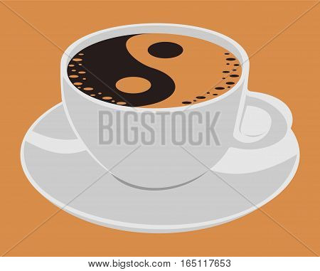 Cup of coffeе and yin yang. A cup and saucer can be used separately.