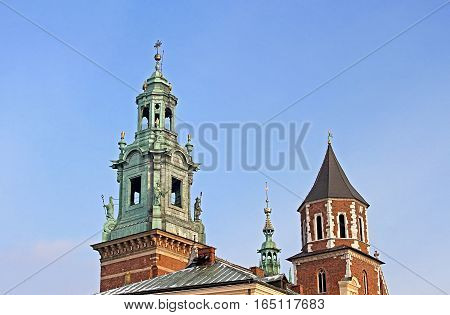 Domes of the Royal Archcathedral Basilica of Saints Stanislaus and Wenceslaus on the Wawel Hill, Krakow, Poland