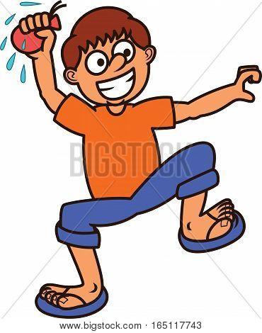 Boy Ready to Throw Water Balloon Cartoon Illustration
