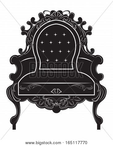 Rich Baroque armchair. French Luxury rich carved ornaments decorated furniture. Vector Victorian Royal Style structure