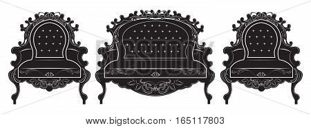 Rich Baroque upholstery furniture set. French Luxury rich carved ornaments decorated furniture. Vector Victorian Royal Style structure