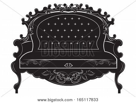 Rich Baroque sofa. French Luxury rich carved ornaments decorated furniture. Vector Victorian Royal Style structure