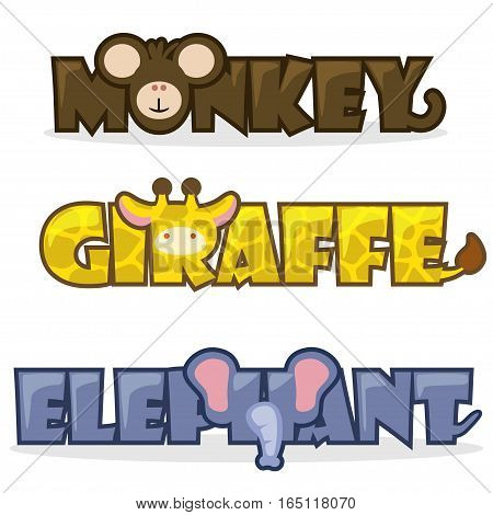 cute cartoon wild animals, funny text name monkey, giraffe and elephant