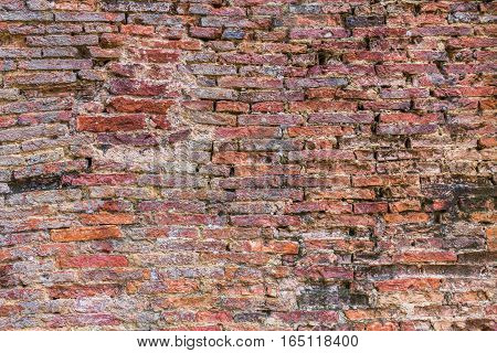 Weathered texture of stained old dark brown and red brick wall texture grunge background red brick wall background grungy rusty blocks of stone-work China brick