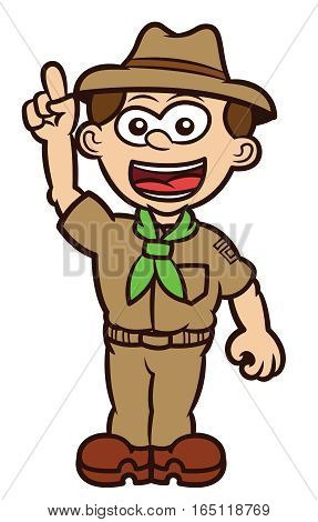Boy Scout Rising His Hand Cartoon Illustration Isolated on White