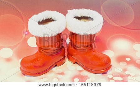 Red Santa Claus Boots, Shoes. Saint Nicholas Boots Gifts, Red Lights Bokeh Background.