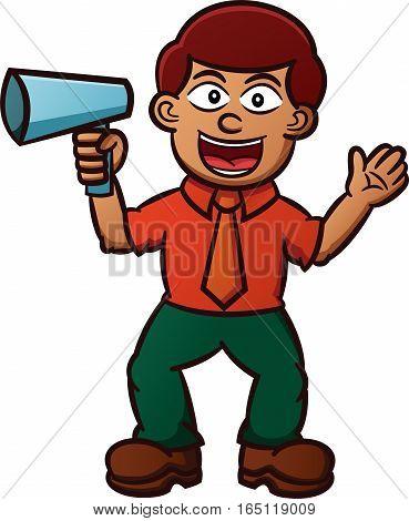 Businessman with Megaphone Business Broadcast Concept Cartoon