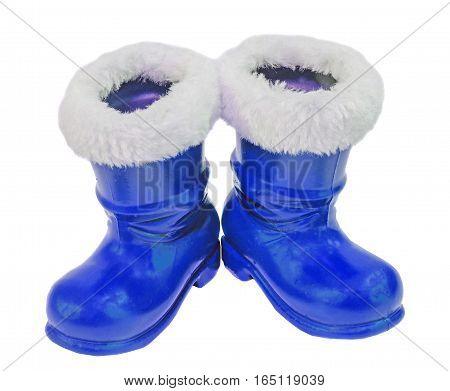 Blue Santa Claus Boots, Shoes. Saint Nicholas Boots Gifts, White Background.