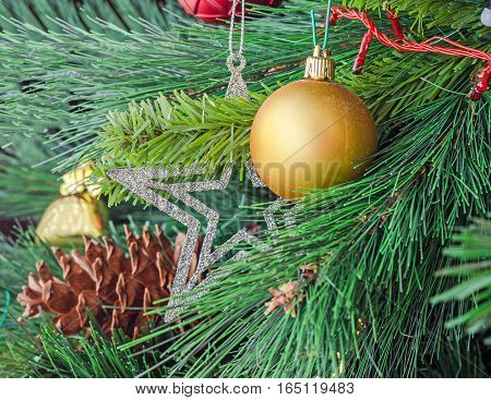 Christmas Tree Vibrant Colored Ornaments, Globe Hanging, Snow Flake, Stars, Green Tree, Firs With Co