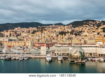 Aerial view of the downtown of Genoa from the harbor