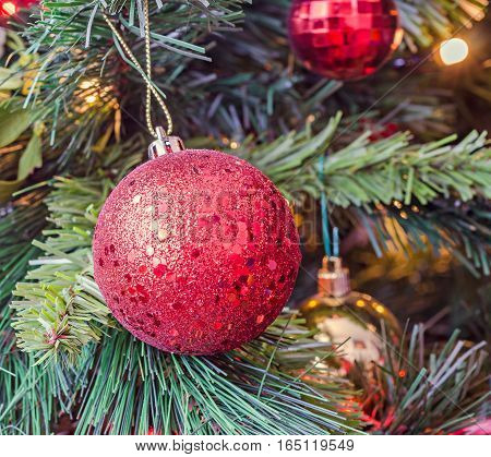 Christmas Tree Vibrant Colored Ornaments, Globe Hanging, Snow Flake, Green Tree, Firs With Cones, Cl