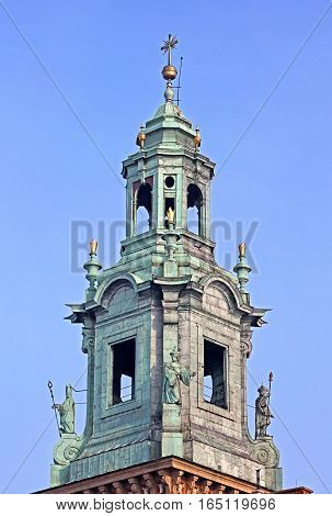 Top of the Royal Archcathedral Basilica of Saints Stanislaus and Wenceslaus on the Wawel Hill, Krakow, Poland