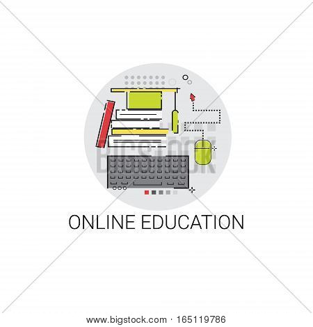 Degree Online Learning Distance Education Icon Vector Illustration