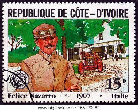 IVORY COAST - CIRCA 1981: a stamp printed in Ivory Coast shows Felice Nazarro Italian Racecar Driver circa 1981