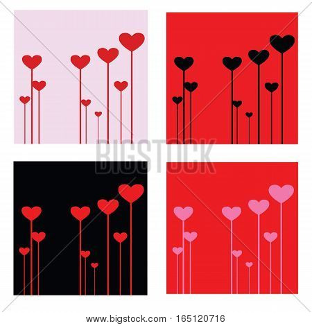 Valentines Day heart vector illustration in different colors. background, wallpaper, invitation holiday card.