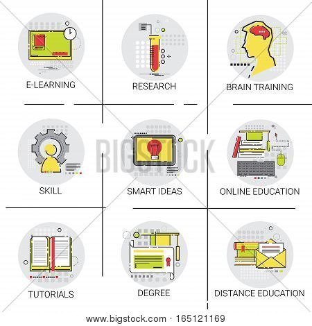 SKills Brain Training Online Learning Distance Education Set Icon Vector Illustration