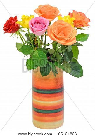 Vibrant Colored (red, Yellow, Orange, White) Roses Flowers In A Colored Vase, Close Up, Bouquet, Flo
